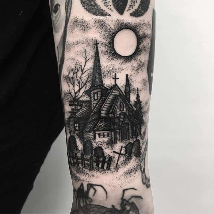Spooky Church and Graveyard Tattoo on Forearm