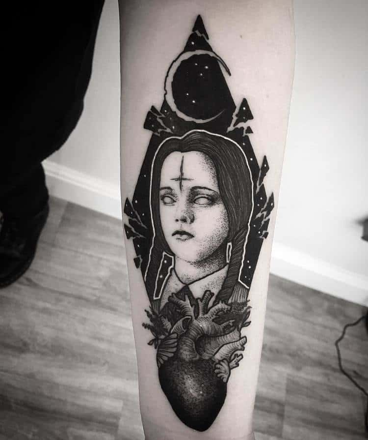 Wednesday Addams and Anatomical Heart on Forearm