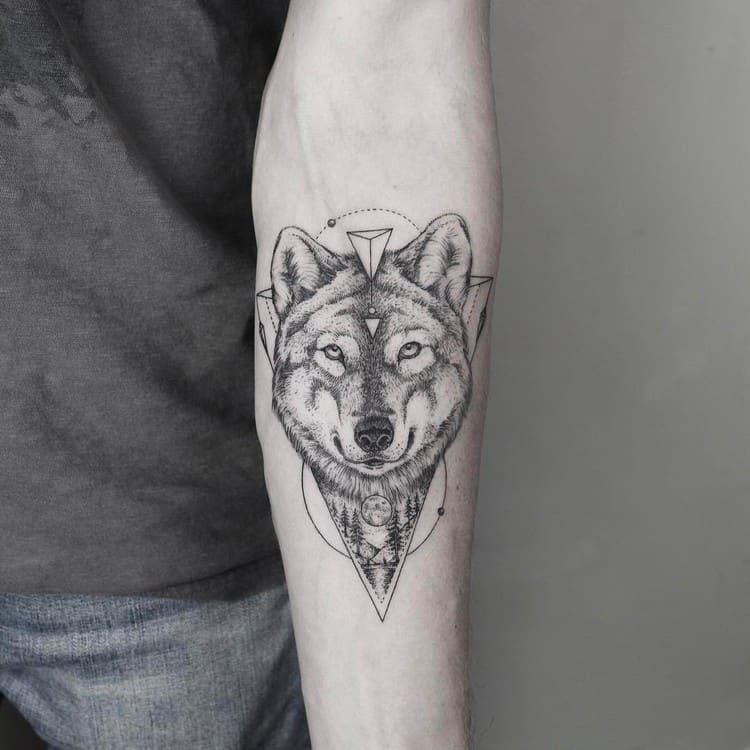 Wolf Tattoo and Landscape