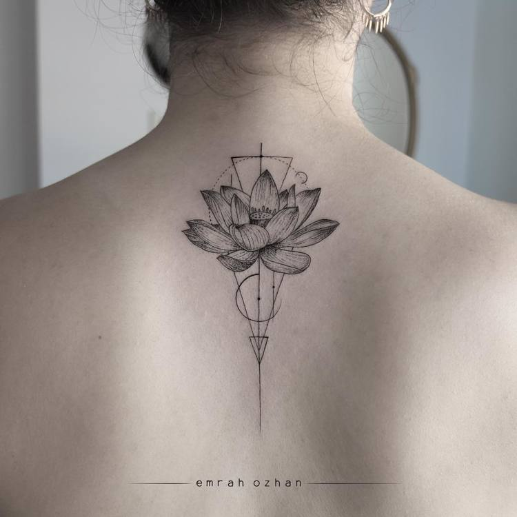 Lotus Tattoo and Geometric Elements