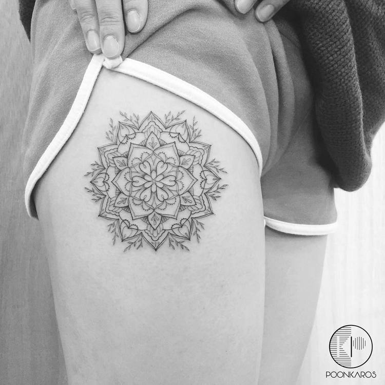 Fine Line Mandala Tattoo by by Poonkaros