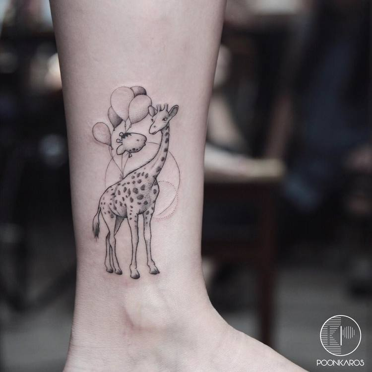 Giraffe and Balloons on Ankle by poonkaros