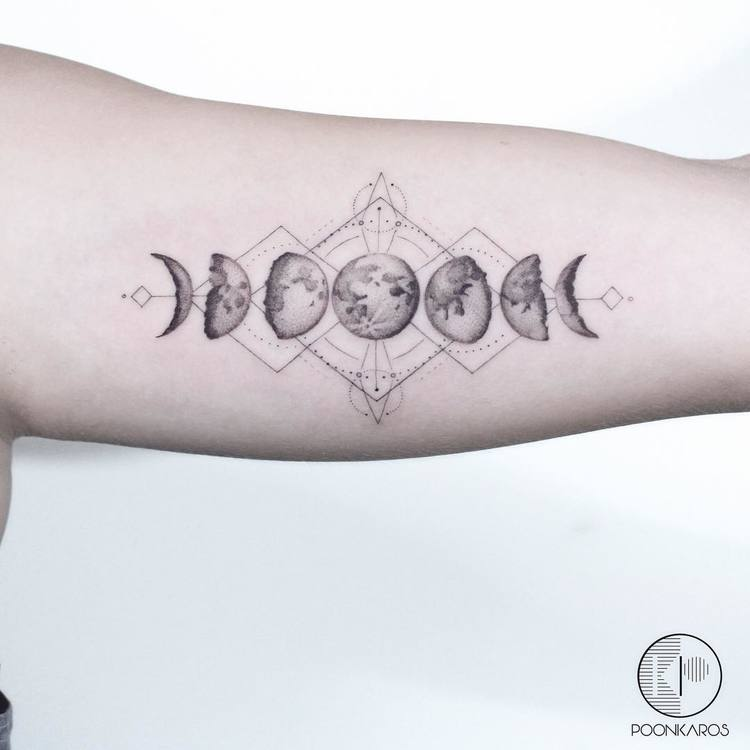 44 fine line black and grey tattoos by poonkaros tattooadore for Moon phase tattoo