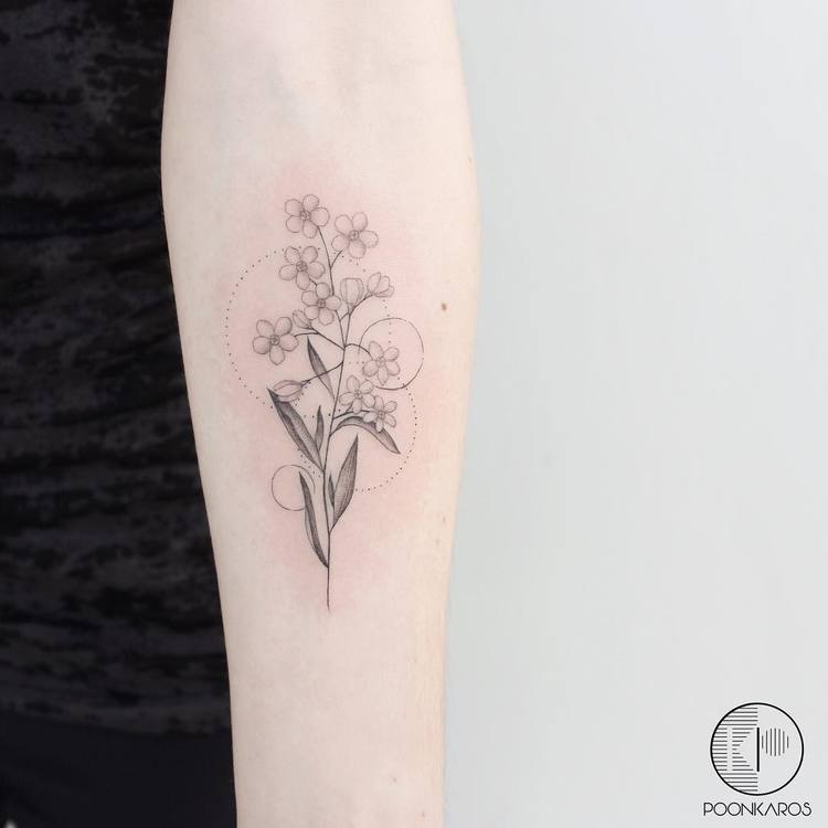 DelicateForget-Me-Nots Tattoo by poonkaros
