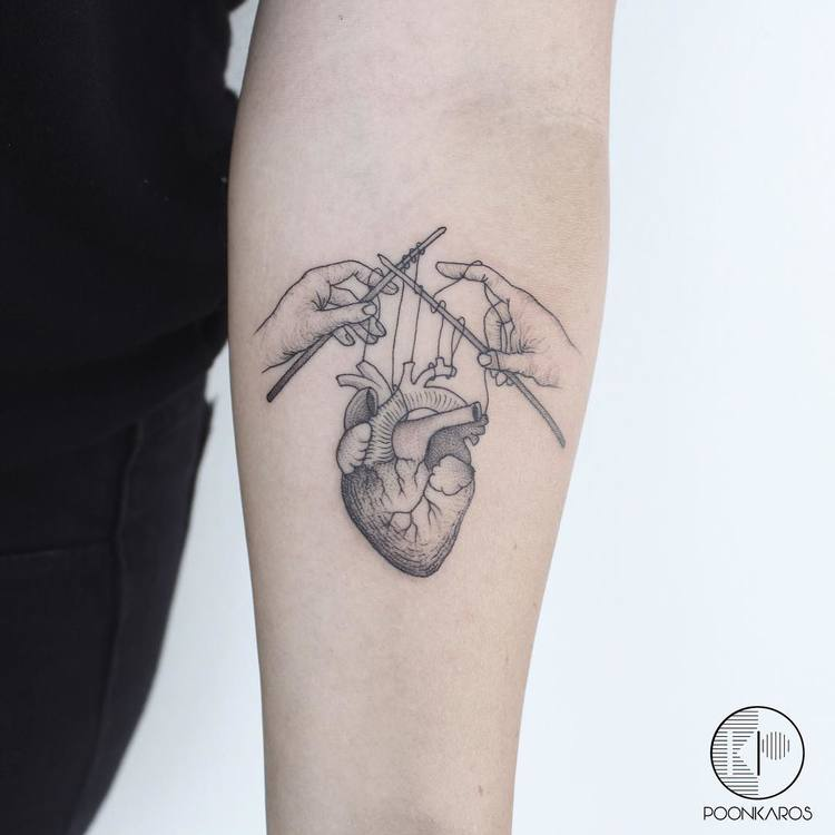 Crocheted Anatomical Heart Tattoo by poonkaros