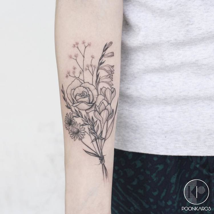 Flower Bouquet Tattoo by poonkaros
