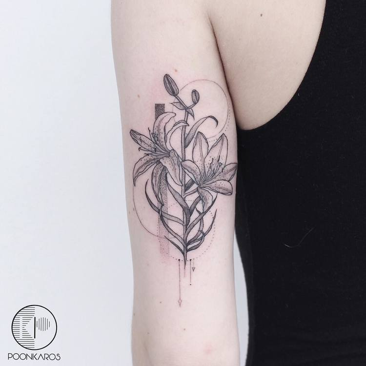 Black and Grey Tiger Lilies Tattoo by poonkaros