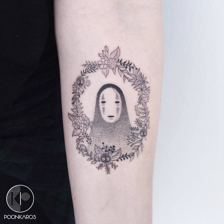 No Face Tattoo and Flowers by poonkaros