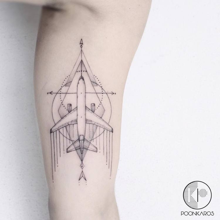 Geometric Airplane Tattoo by poonkaros