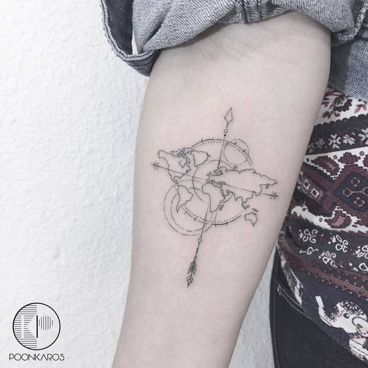 World Map Tattoo by poonkaros