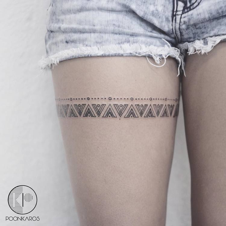Mayan Pattern Thigh Band Tattoo by poonkaros
