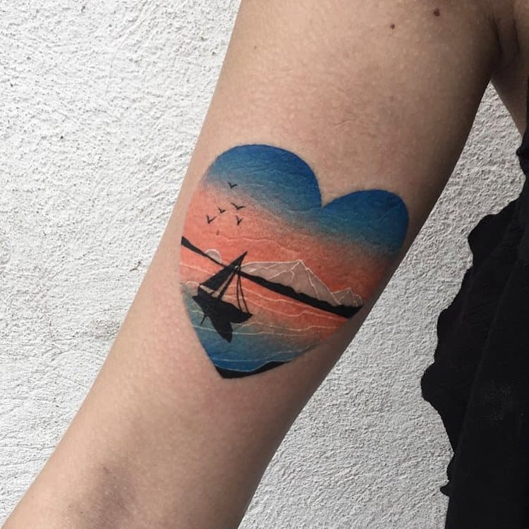 Seascape and Boat Inside Heart by dariastahp
