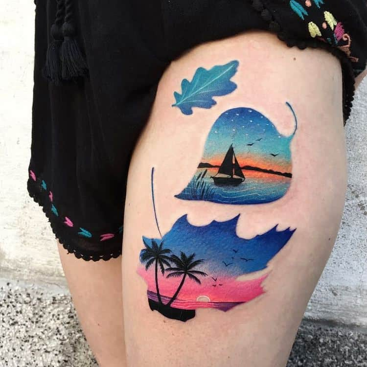 Colored Double Exposure Tattoos by dariastahp