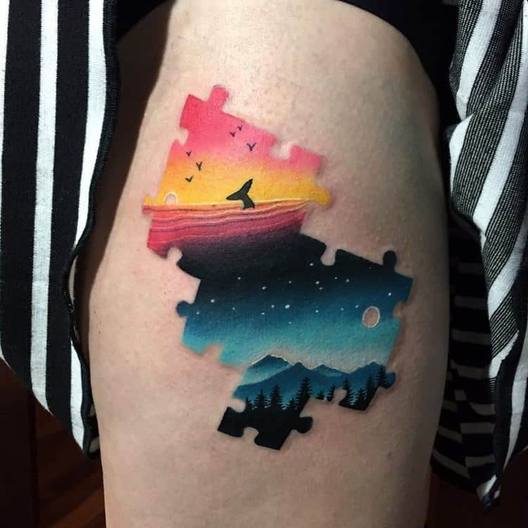 Sceneries / Puzzle Tattoo on Thigh by dariastahp