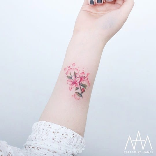 Watercolor Azalea Flower Tattoo by Tattooist Nanci