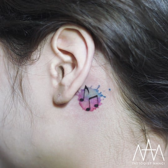Watercolor Musical Notes Tattoo by Tattooist Nanci