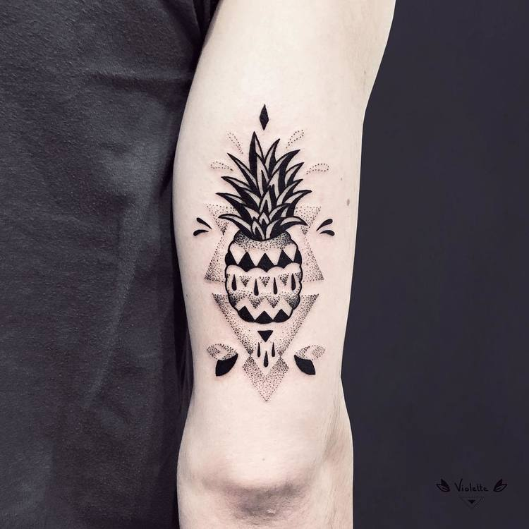 Blackwork and Dotwork Ananas Tattoo by violette_bleunoir