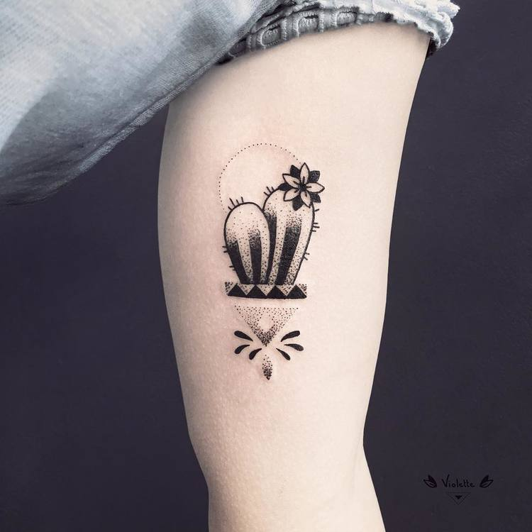 Cactus Tattoo by violette_bleunoir