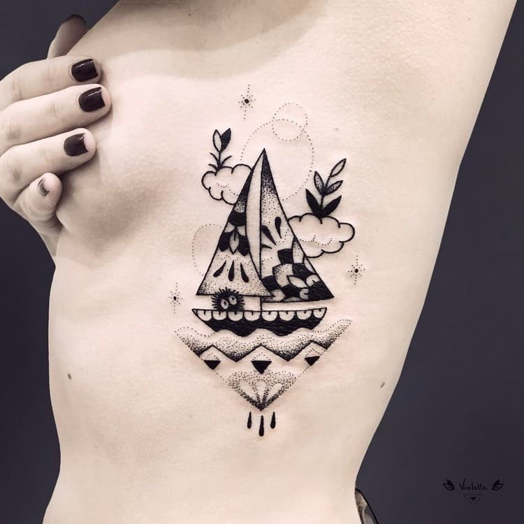 Abstract Sail Boat Tattoo by violette_bleunoir