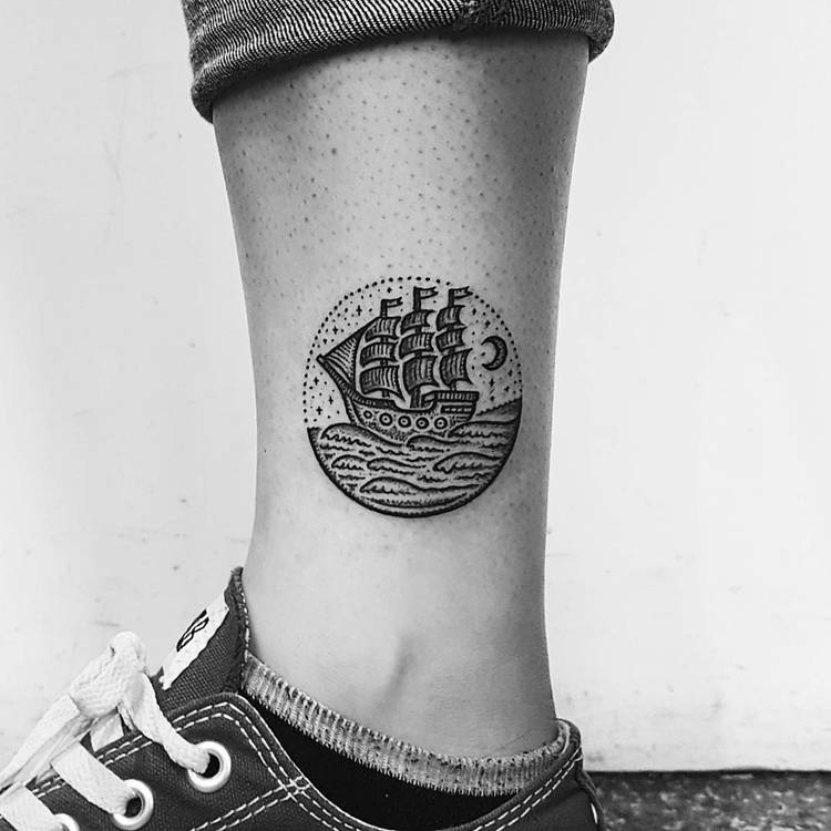 Ship and Waves Tattoo by Mike Stout