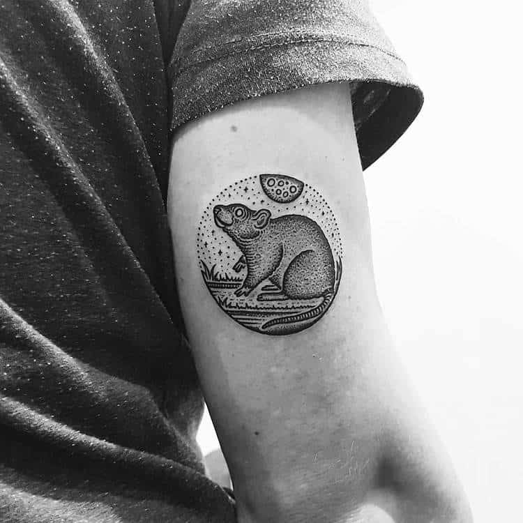 Dotwork Rat Tattoo by Mike Stout
