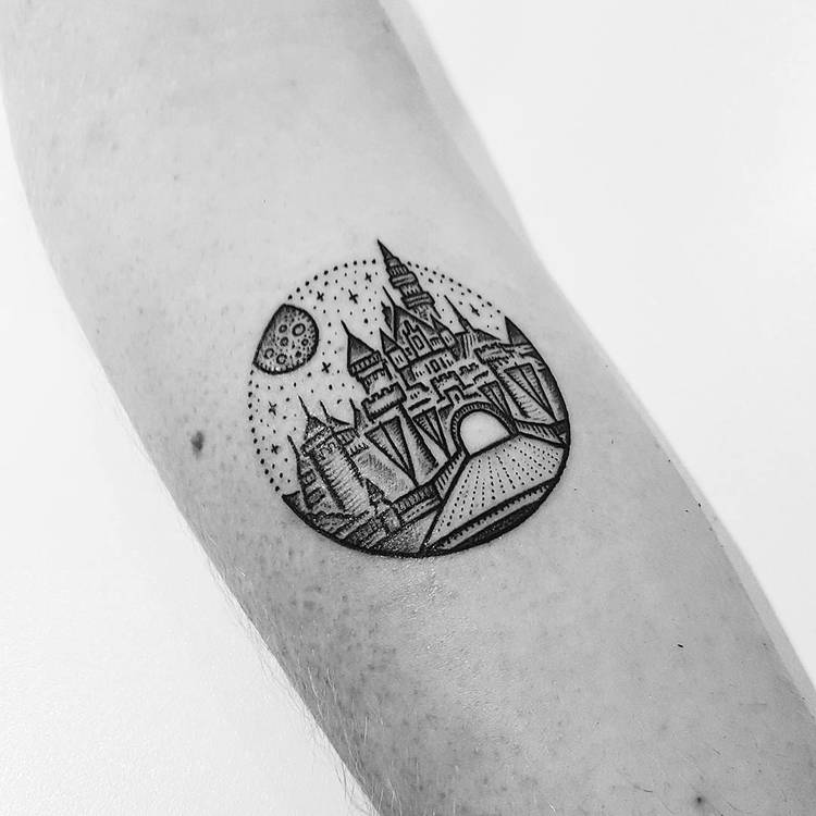Dotwork Disney Castle Tattoo by Mike Stout