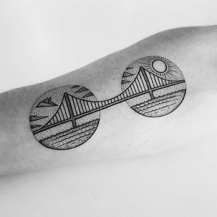The Great Belt Bridge Tattoo by Mike Stout