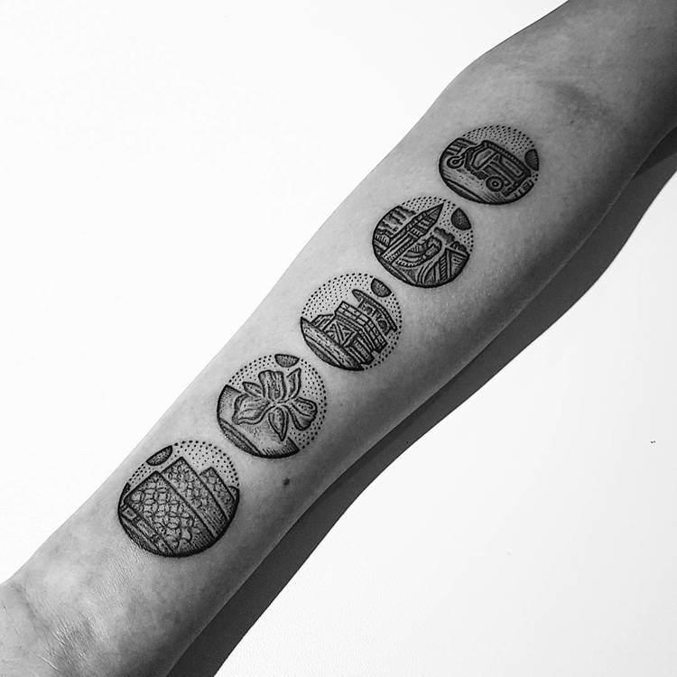 Dotwork Circular Tattoos on Inner Forearm by Mike Stout