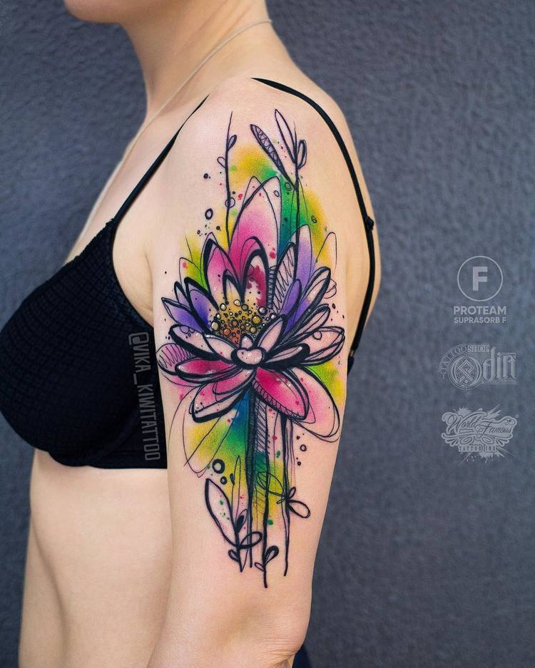 Sketch Style Upper Sleeve Flower Tattoo by vika_kiwitattoo