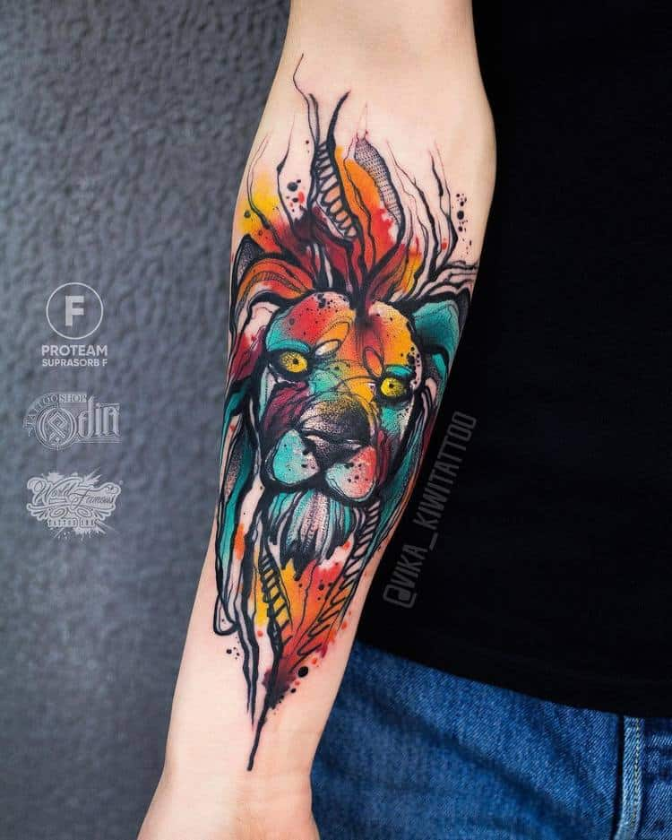 Lion Head Tattoo by vika_kiwitattoo