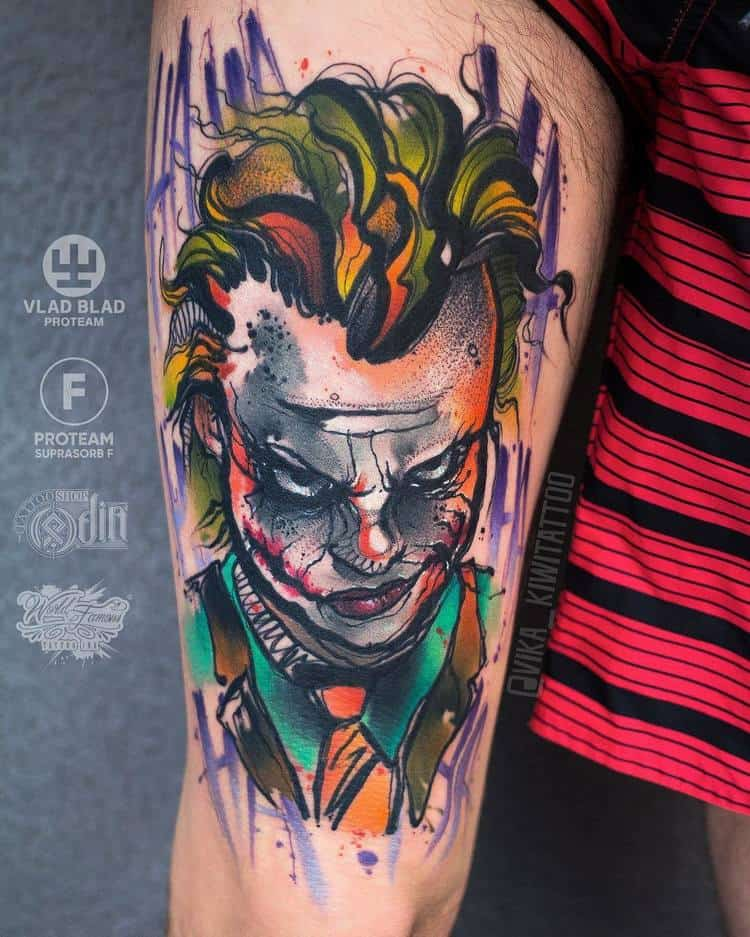 Joker Tatto Hand: 40 Graphic Watercolor Tattoos By Vika KIWI