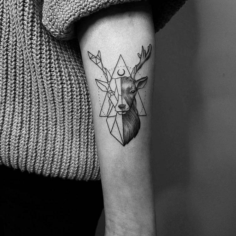 Geometric Deer Tattoo by Vitaly Kazantsev