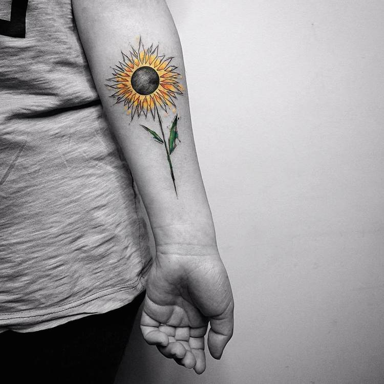 Sunflower Tattoo by Vitaly Kazantsev
