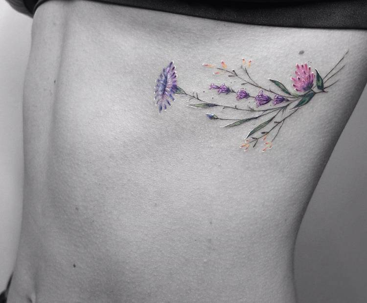 Field Flowers Tattoo by Vitaly Kazantsev
