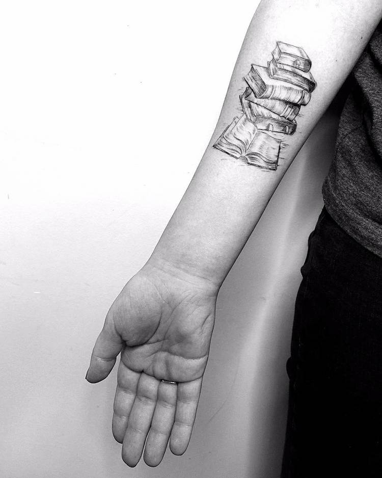 Book Lover Tattoo Idea by Vitaly Kazantsev