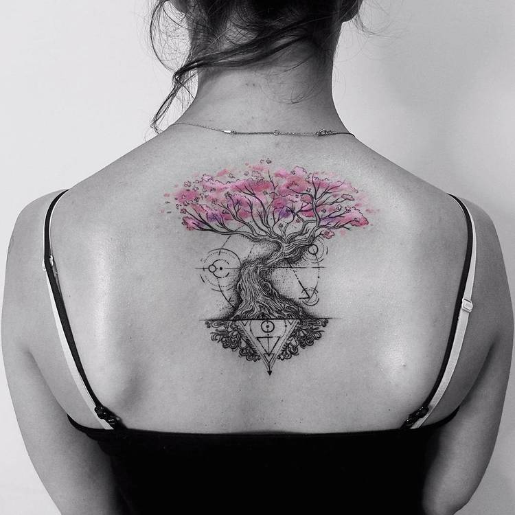 Graphic Tree of Life Tattoo by Vitaly Kazantsev