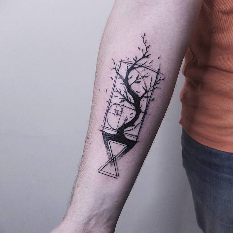 Blackwork Golden Ratio, Tree, and Geometric Shapes Tattoo by Vitaly Kazantsev
