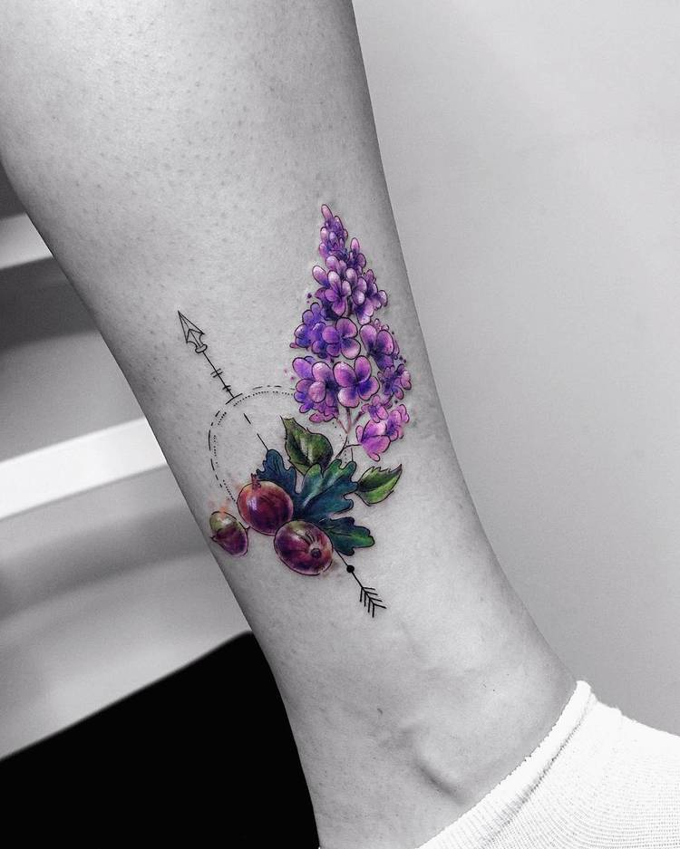 Botanical Tattoo with Geometric Elements by Vitaly Kazantsev