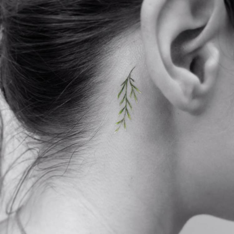 Small Twig Tattoo Behind the Ear by Vitaly Kazantsev