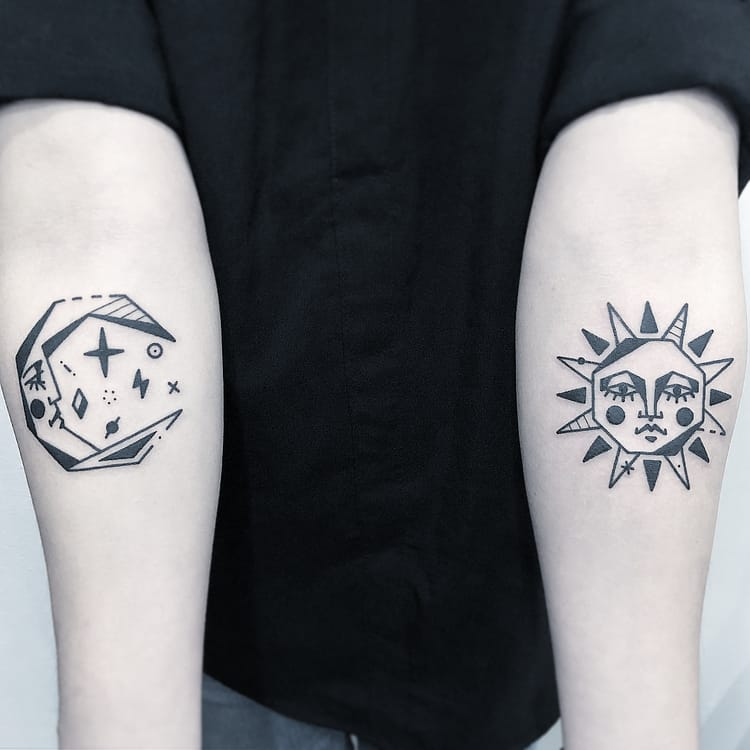 Moon and Sun Blackwork Tattoos by Greemtattoo