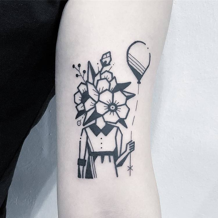 Flower Girl Holding a Balloon by Greemtattoo