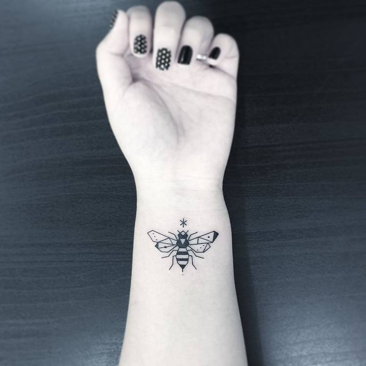 Small Bee Tattoo by Greemtattoo