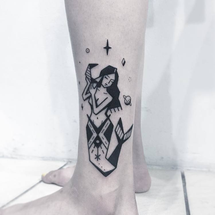 Space Mermaid Tattoo by Greemtattoo