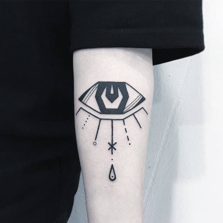 Geometric Eye Tattoo by Greemtattoo