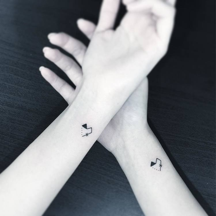 Minimalist Matching Heart Tattoos by Greemtattoo