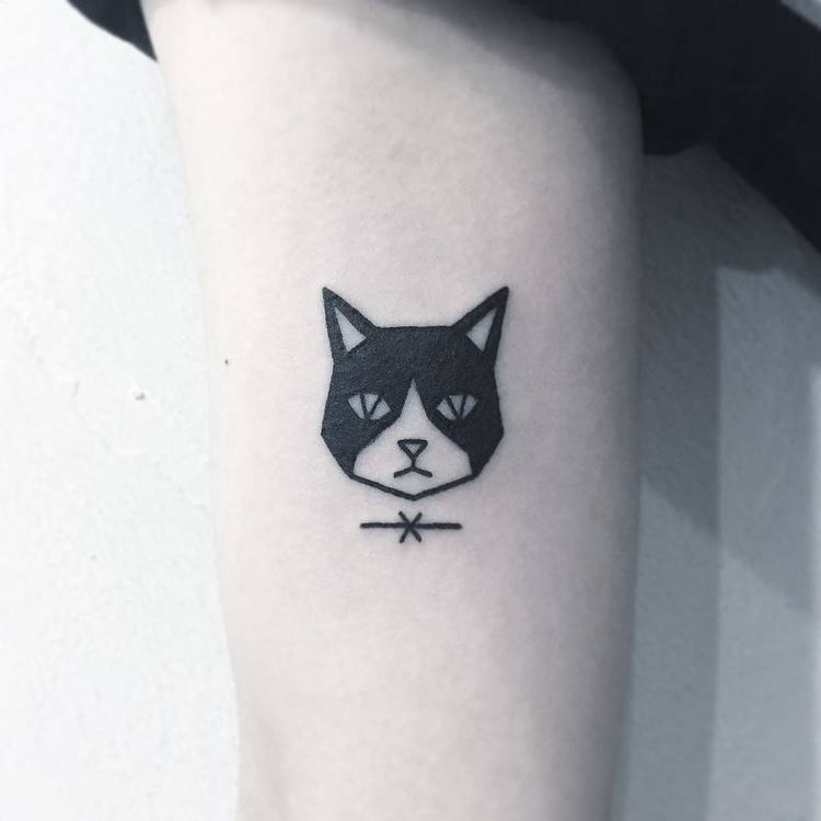 Cute Tuxedo Cat Tattoo by Greemtattoo