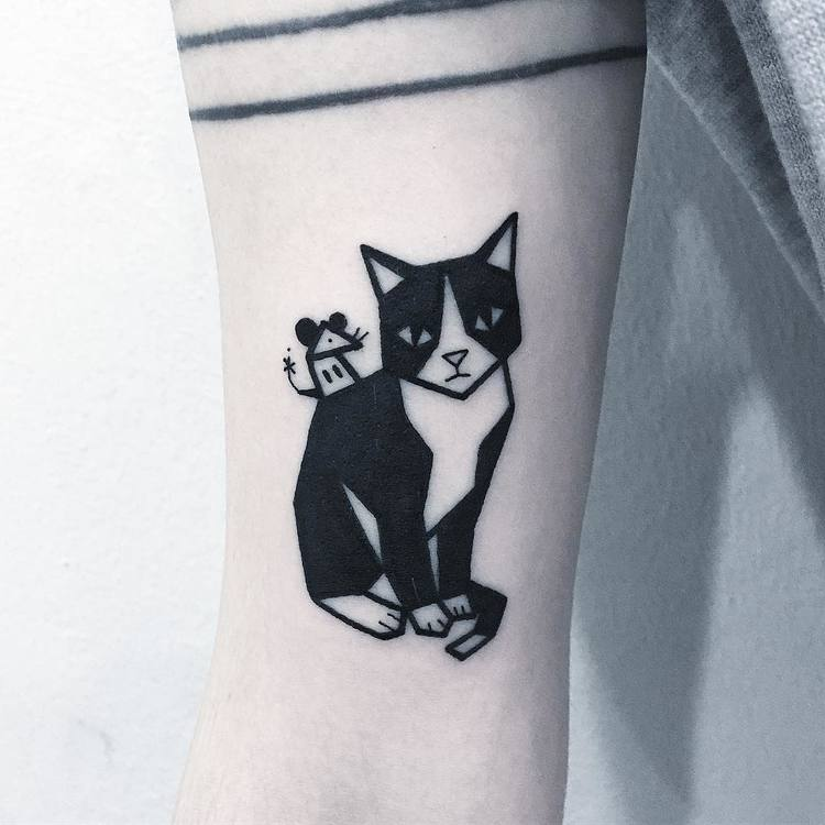Cat and Mouse Tattoo by Greemtattoo