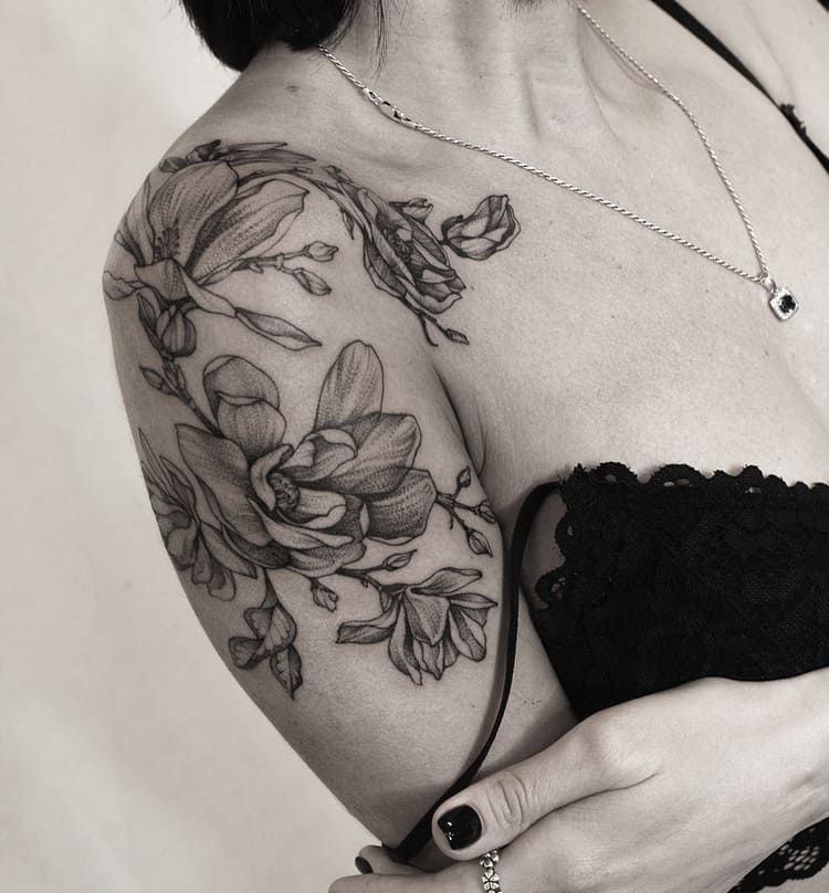 Magnolia Tattoo by veresknastasia_art