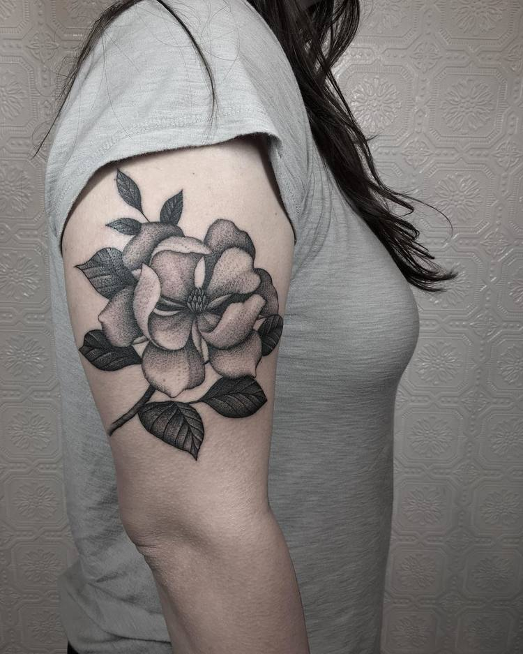 Magnolia Tattoo by justinoliviertattoo