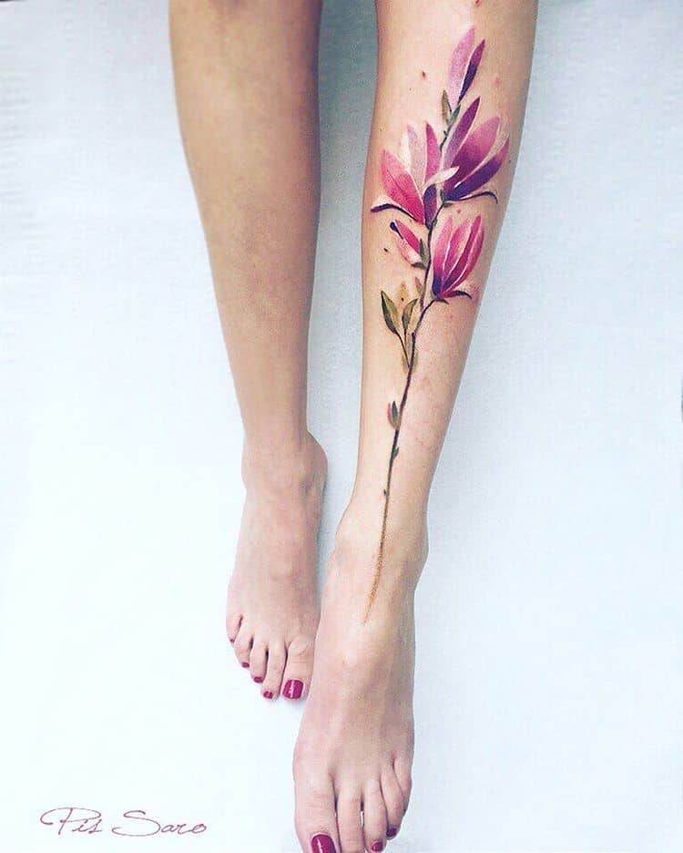 Magnolia Tattoo by pissaro_tattoo